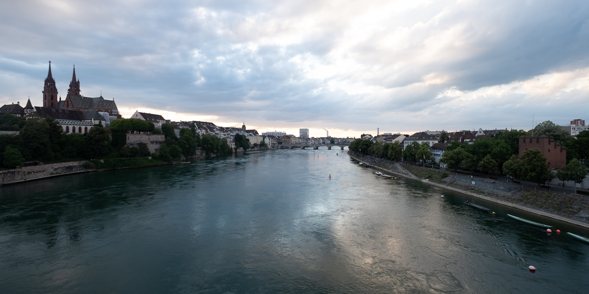 A panorama of the Rhine taken from the middle of a bridge.