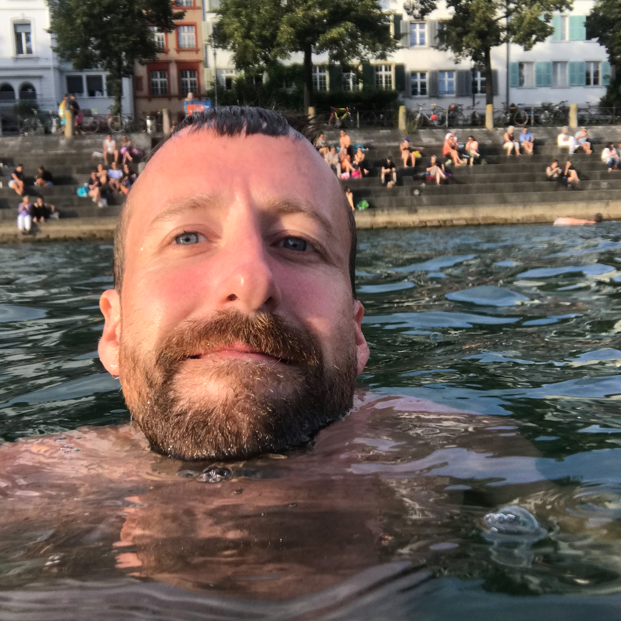 A photo of Ed Horsford swimming in the Rhine
