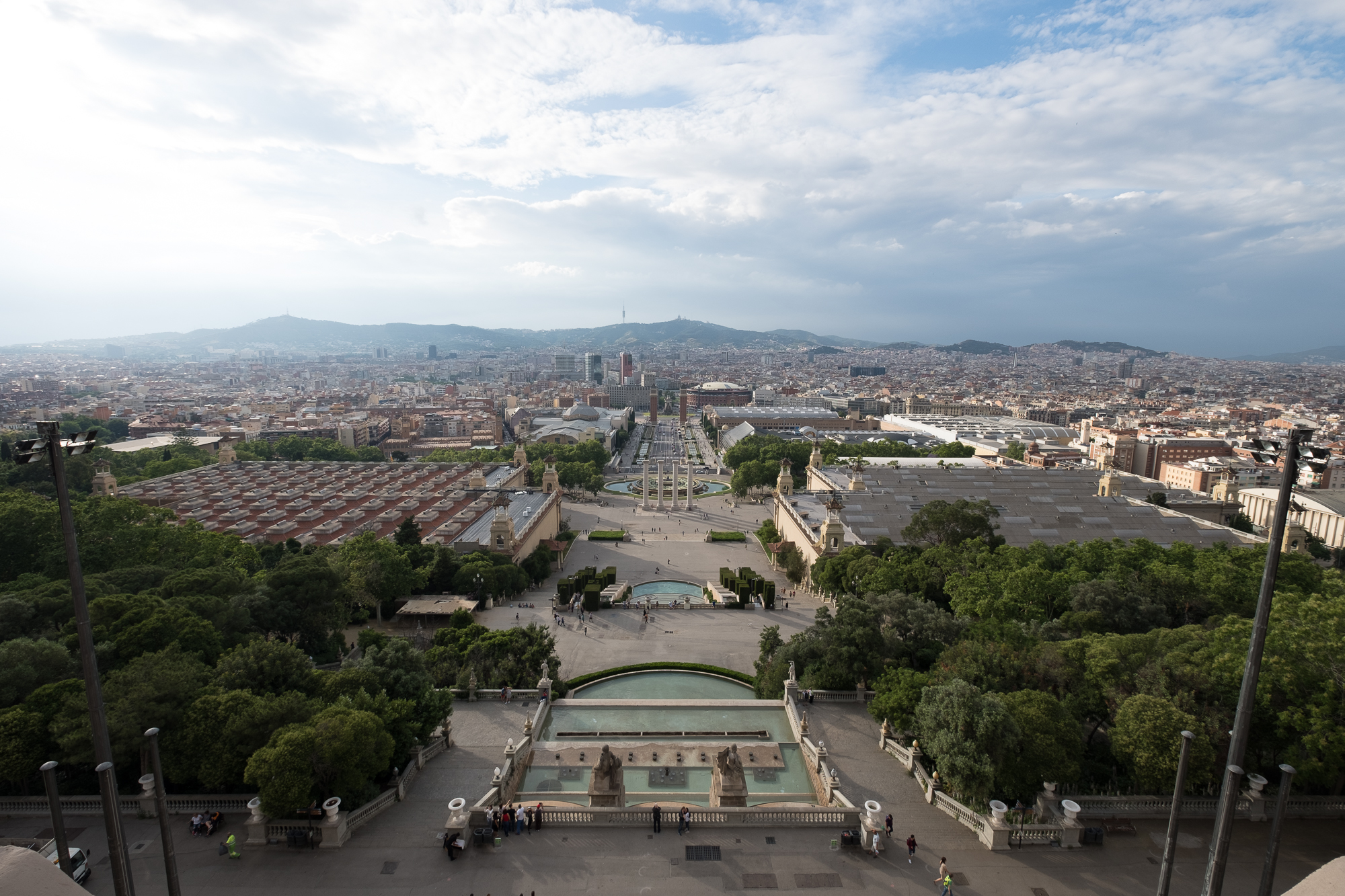 A photo taken from the roof of the Museu Nacional d'Art de Catalunya, looking out over Barcelona.