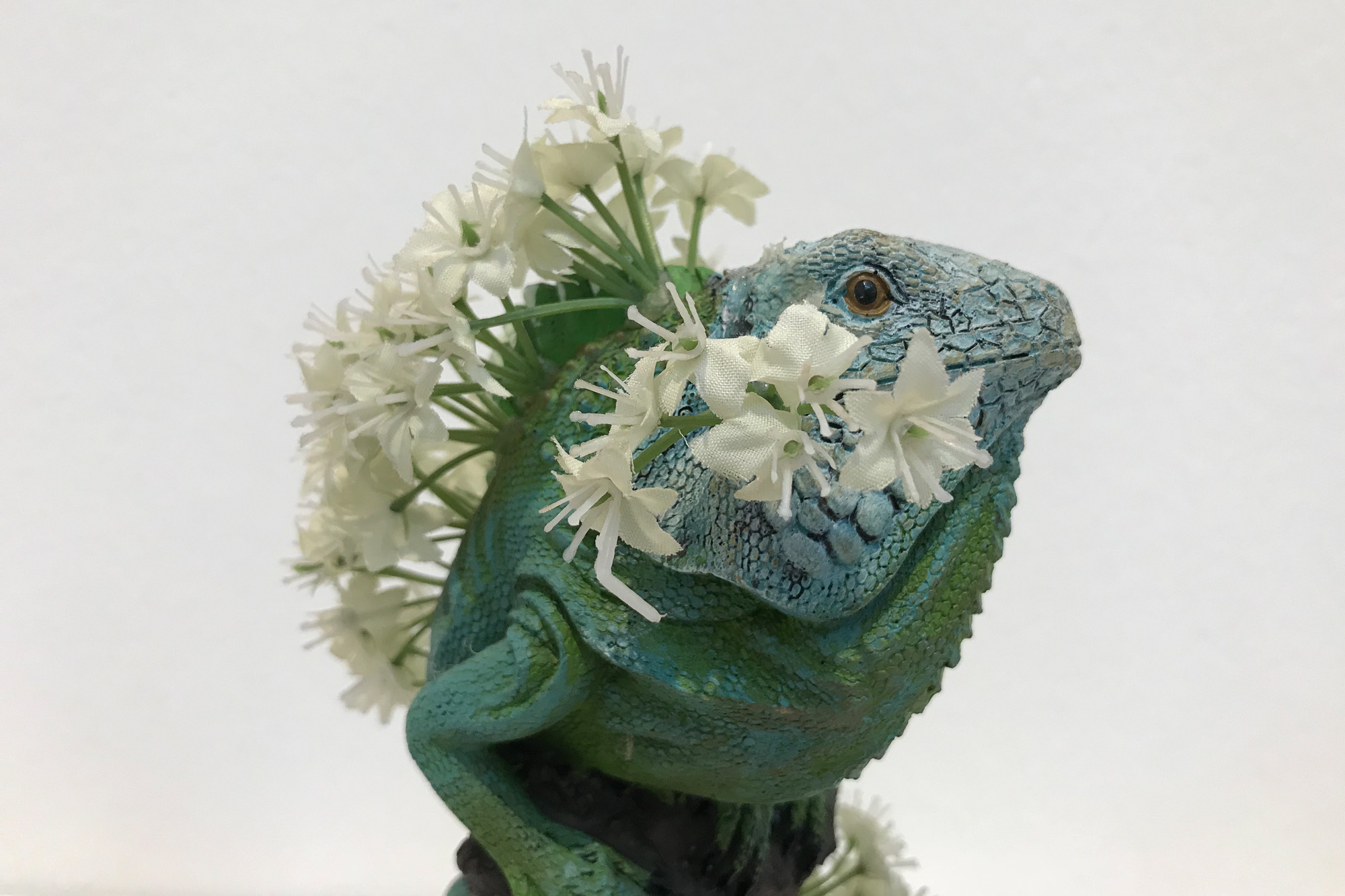 A close photo of a model of a lizard with flowers growing out of it's back.